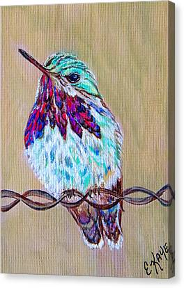 Canvas Print featuring the painting Calliope On The Fence by Ella Kaye Dickey