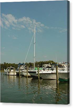 Canvas Print featuring the photograph Calm Day At The Marina by Dorothy Maier