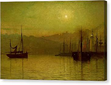 Moonlit Canvas Print - Calm Waters, Scarborough, 1880 by John Atkinson Grimshaw