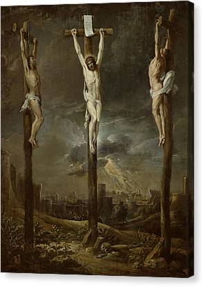 Calvary Oil On Card Canvas Print by David the Younger Teniers