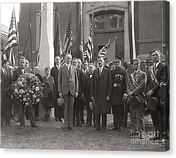 Canvas Print featuring the photograph Calvin Coolidge Springfield Ma 1925 by Martin Konopacki Restoration