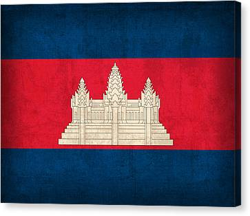 Cambodia Canvas Print - Cambodia Flag Vintage Distressed Finish by Design Turnpike