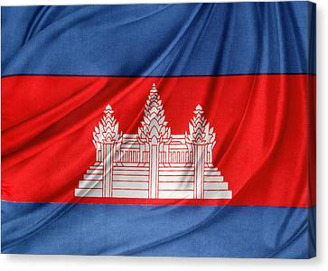 Cambodian Flag Canvas Print by Les Cunliffe