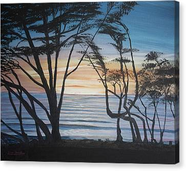 Canvas Print featuring the painting Cambria Cypress Trees At Sunset by Ian Donley