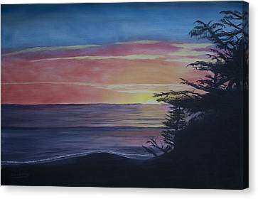 Canvas Print featuring the painting Cambria Setting Sun by Ian Donley