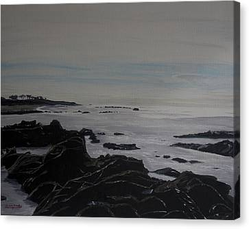 Canvas Print featuring the painting Cambria Tidal Pools by Ian Donley