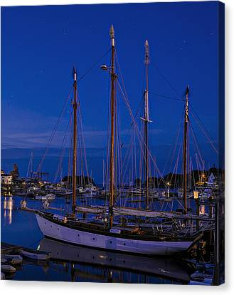 Canvas Print featuring the photograph Camden Harbor Maine At 4am by Marty Saccone