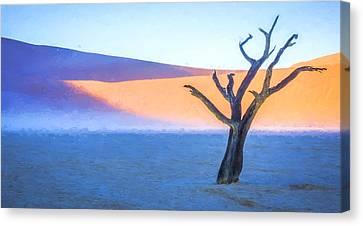 Camel Thorn Dawn - Dead Vlei Digital Art Canvas Print by Duane Miller