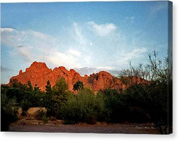 Camelback Mountain And Moon Canvas Print