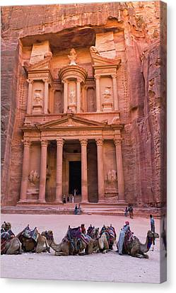 Camels At The Facade Of Treasury (al Canvas Print by Keren Su