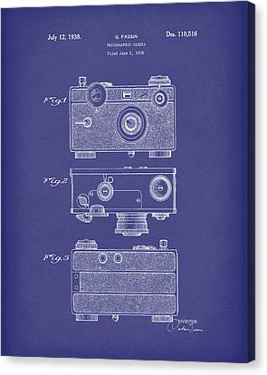 Camera Canvas Print - Camera 1938 Patent Art Blue by Prior Art Design