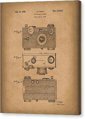 Camera 1938 Patent Art Brown Canvas Print by Prior Art Design