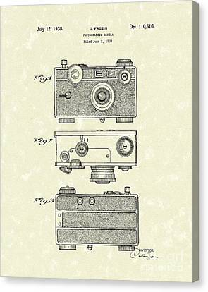 Camera 1938 Patent Art Canvas Print by Prior Art Design