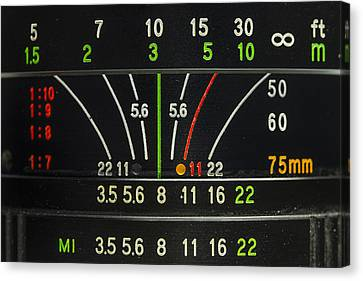 Camera Lens Aperture F Stop Distance Markings Canvas Print by Andy Gimino