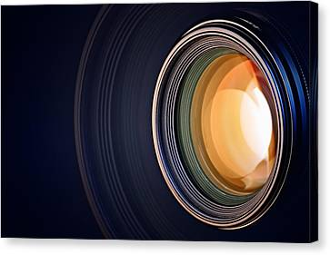 Camera Canvas Print - Camera Lens Background by Johan Swanepoel
