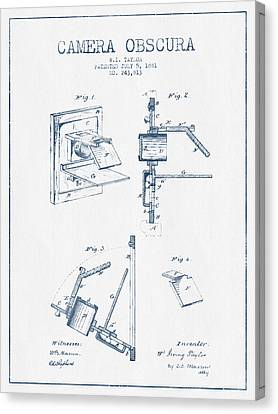 Camera Obscura Patent Drawing From 1881 - Blue Ink Canvas Print by Aged Pixel