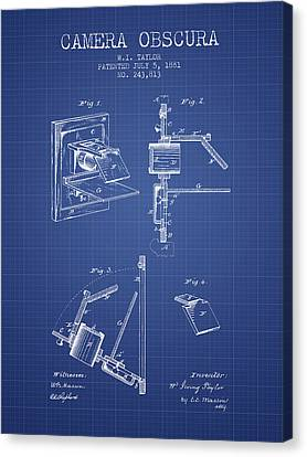 Camera Obscura Patent From 1881 - Blueprint Canvas Print