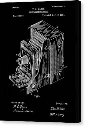 Camera Patent 1887 - Black Canvas Print by Stephen Younts