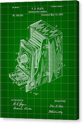 Camera Patent 1887 - Green Canvas Print
