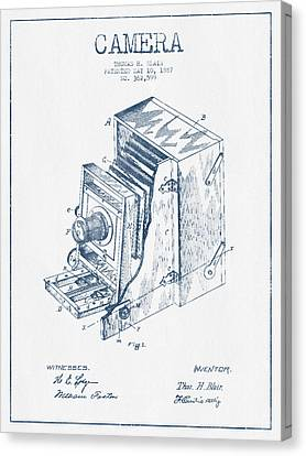 Camera Patent Drawing From 1887 - Blue Ink Canvas Print by Aged Pixel