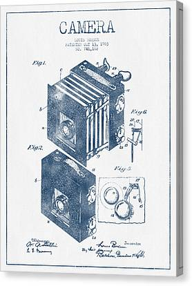 Camera Patent Drawing From 1903 - Blue Ink Canvas Print by Aged Pixel