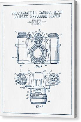 Camera Patent Drawing From 1962- Blue Ink Canvas Print by Aged Pixel