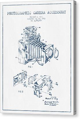 Camera Patent Drawing From 1963- Blue Ink Canvas Print by Aged Pixel