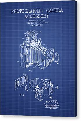 Camera Patent From 1963 - Blueprint Canvas Print by Aged Pixel