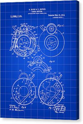Camera Shutter Patent 1910 - Blue Canvas Print by Stephen Younts