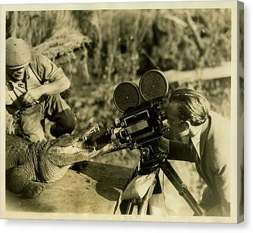 Cameraman With Alligator Canvas Print by Vintage