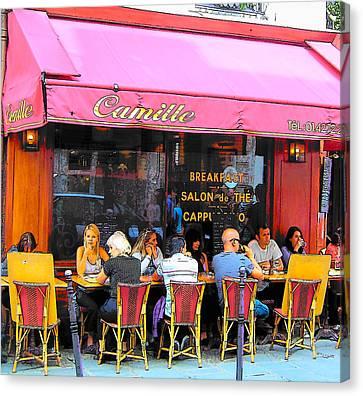 Wine Scene Canvas Print - Camille Restaurant 24 Rue Des Francs Bourgeois Paris  by Jan Matson