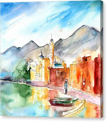 Ink Drawing Canvas Print - Camogli In Italy 11 by Miki De Goodaboom