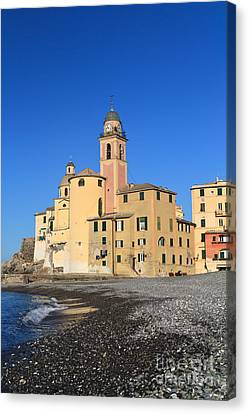 Canvas Print featuring the photograph Camogli Seaside And Church by Antonio Scarpi