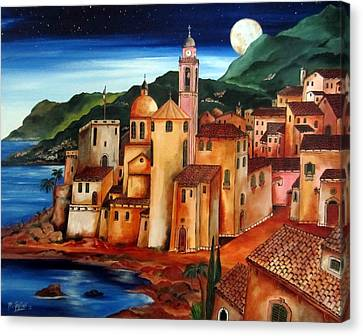 Camogli Under The Moon Canvas Print by Roberto Gagliardi