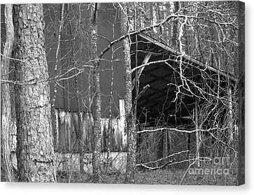 Camouflage Black And White Ver 1 Canvas Print by Affini Woodley