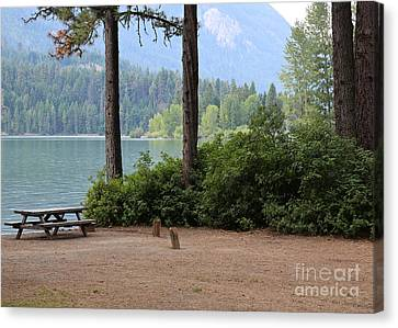 Rimrock Canvas Print - Camp By The Lake by Carol Groenen