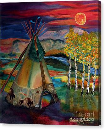 Camp Of The Hunting Moon Canvas Print by Anderson R Moore