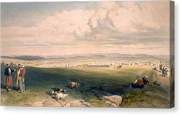 Camp Of The Light Division, Plate Canvas Print by William 'Crimea' Simpson