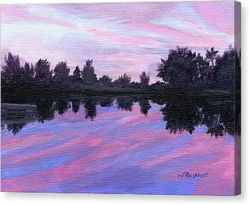 Canvas Print featuring the painting Camp Sunset by Lynne Reichhart