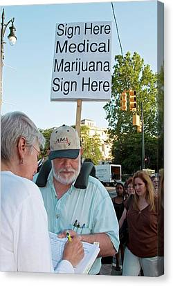 Democracy Canvas Print - Campaign To Legalise Medical Marijuana by Jim West
