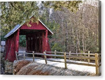 Campbell's Covered Bridge - Van Gogh Style Canvas Print by Jennifer Stockman