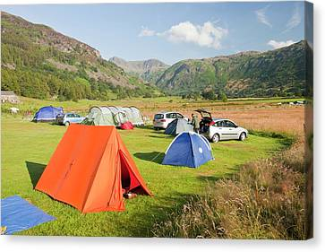 Campers On A Camp Site Canvas Print by Ashley Cooper