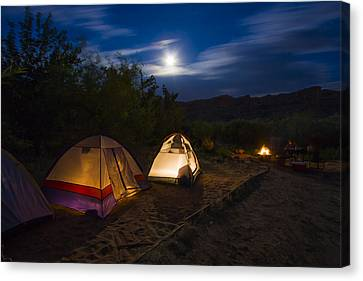 Campfire And Moonlight Canvas Print by Adam Romanowicz