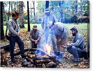Campfire Confederates Canvas Print by Thomas R Fletcher