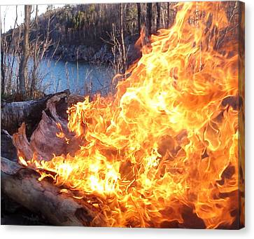 Canvas Print featuring the photograph Campfire by James Peterson