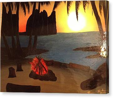 Canvas Print featuring the painting Campfire by Michael Rucker