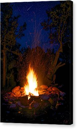Campfire Under The Stars Canvas Print