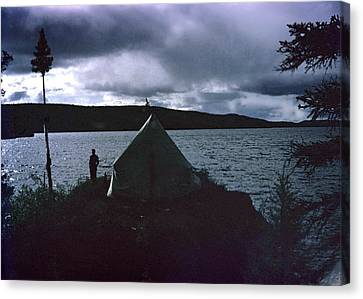 Camping In Labrador-1953 Canvas Print by George Cousins