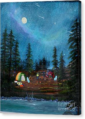 Camping Under The Stars Canvas Print by Myrna Walsh