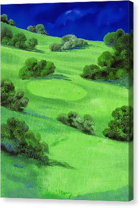 Campo Da Golf Di Notte Canvas Print by Guido Borelli